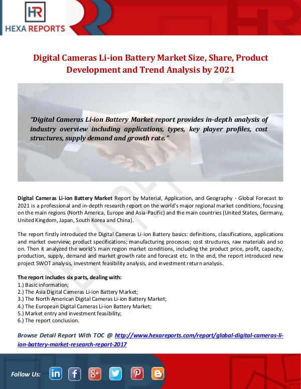 Hexa Reports Industry Digital Cameras Li-ion Battery Market