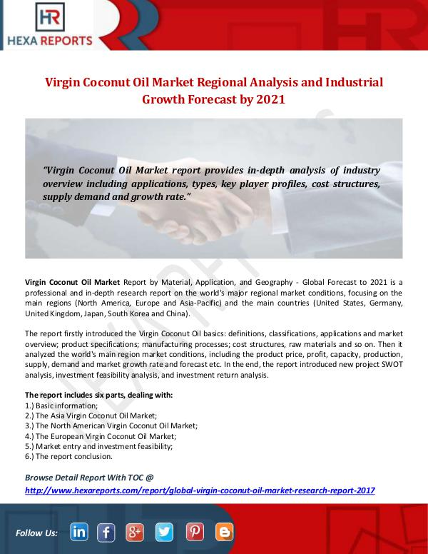 Hexa Reports Industry Virgin Coconut Oil Market