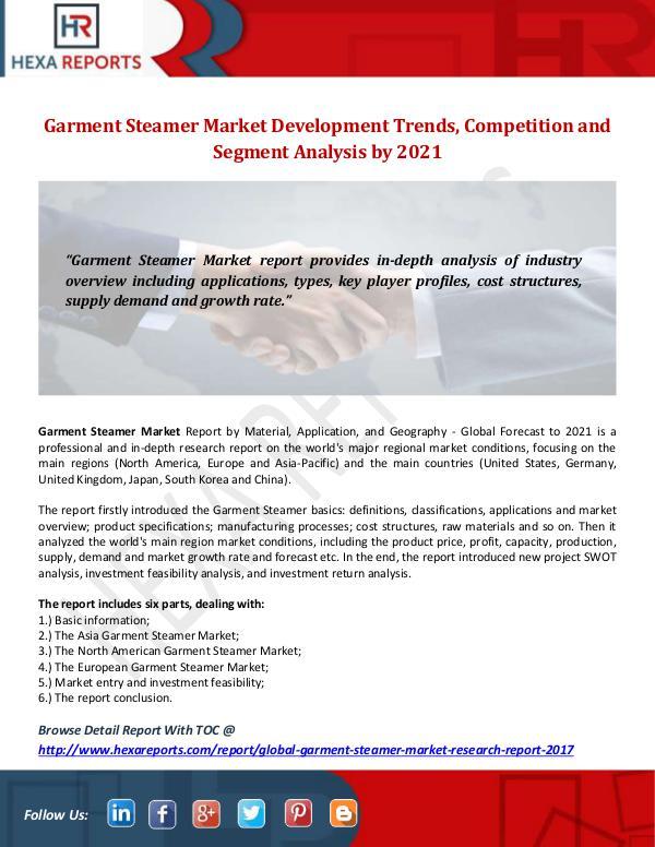 Hexa Reports Industry Garment Steamer Market