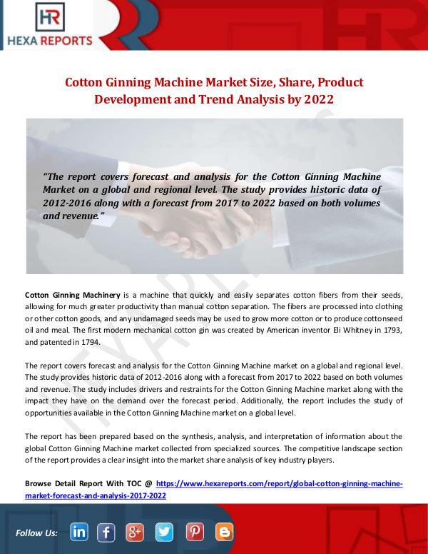 Cotton Ginning Machine Market