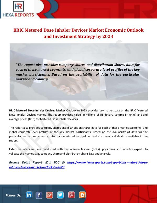 Hexa Reports Industry BRIC Metered Dose Inhaler Devices Market