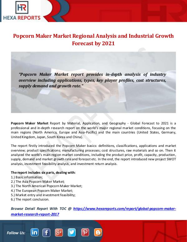 Hexa Reports Industry Popcorn Maker Market