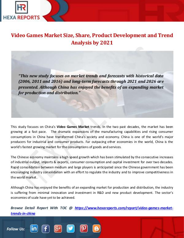 Hexa Reports Industry Video Games Market