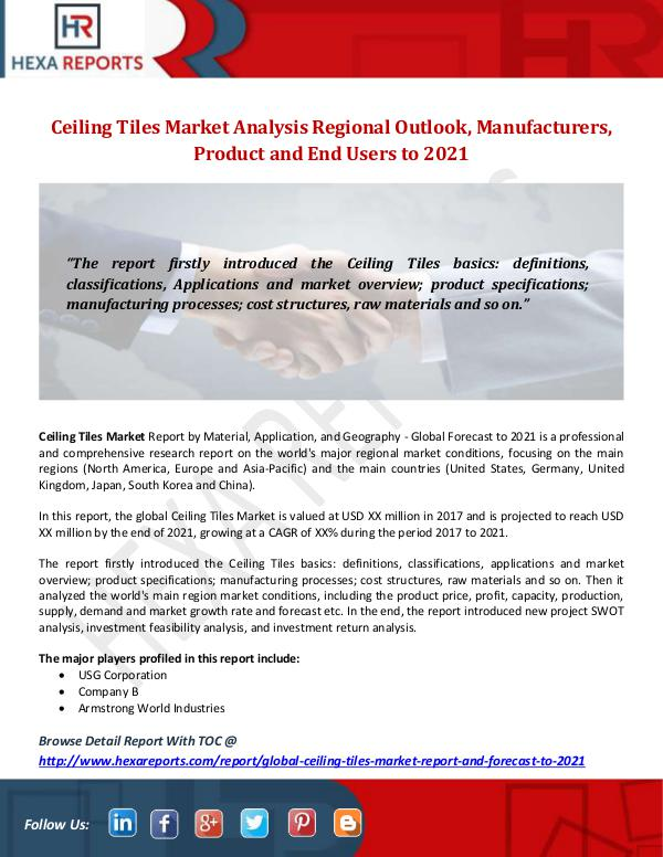 Hexa Reports Industry Ceiling Tiles Market