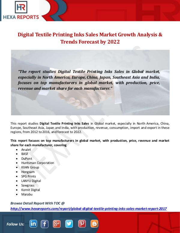 Hexa Reports Industry Digital Textile Printing Inks Sales Market