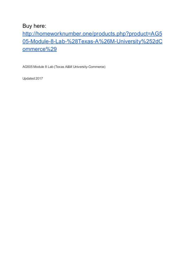 AG505 Module 8 Lab (Texas A&M University-Commerce)