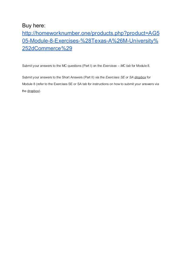 AG505 Module 8 Exercises (Texas A&M University-Commerce)