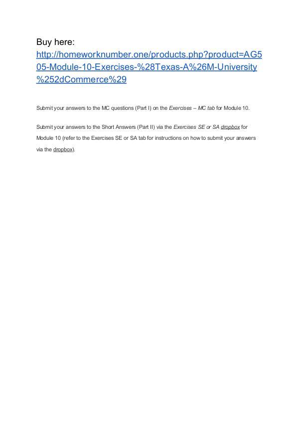AG505 Module 10 Exercises (Texas A&M University-Commerce)