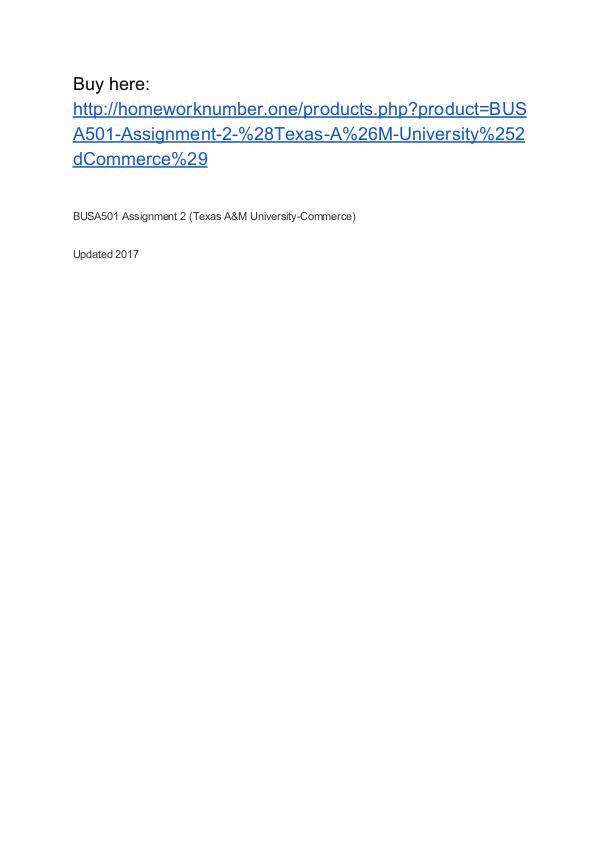 BUSA501 Assignment 2 (Texas A&M University-Commerce)