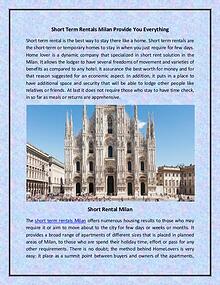 short term rentals Milan