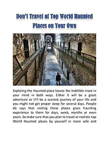 Don't Travel at Top World Haunted Places on Your Own