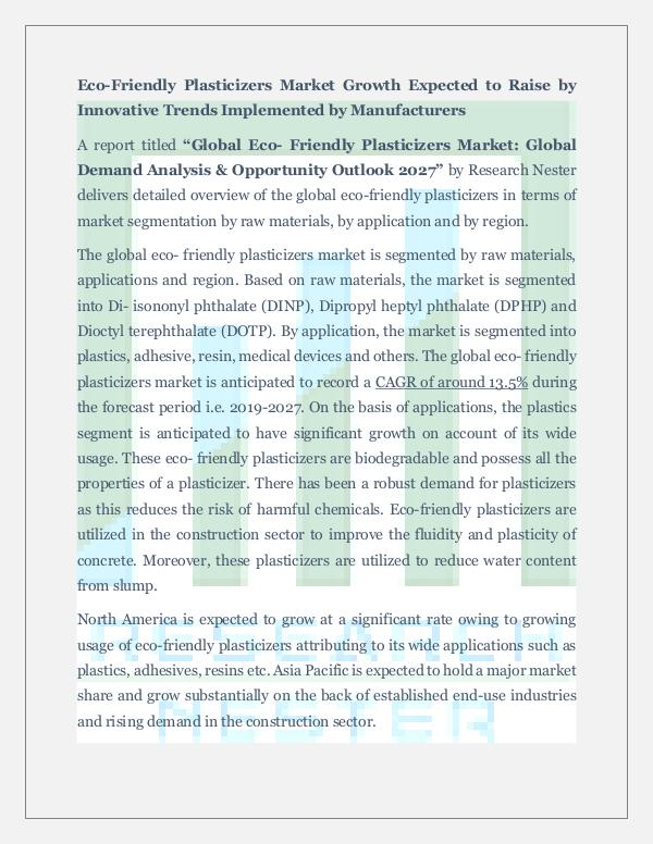 Chemicals and Materials Eco -Friendly Plasticizers Market Demand Analysis