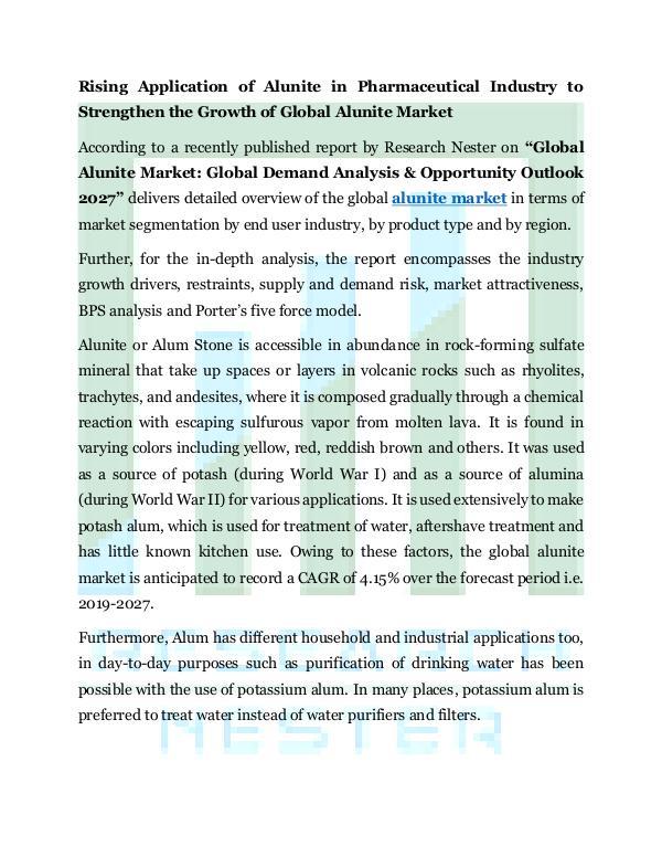 Chemicals and Materials Alunite Market