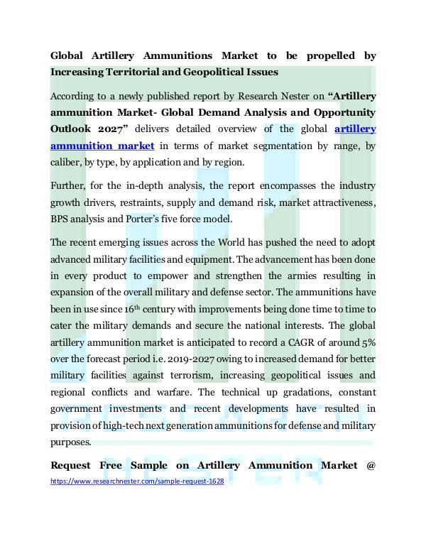Defence, Marine & Aerospace artillery ammunitions market