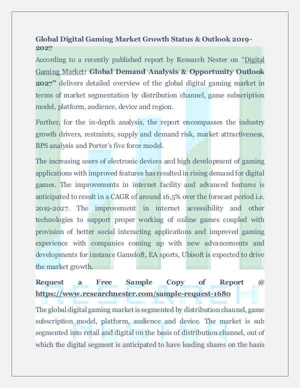 Global Digital Gaming Market Demand Analysis
