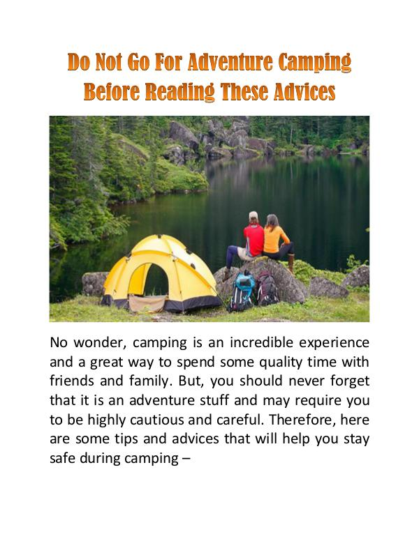 Do Not Go For Adventure Camping Before Reading These Advices Do Not Go For Adventure Camping Before Reading