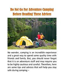 Do Not Go For Adventure Camping Before Reading These Advices