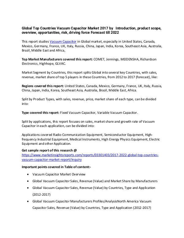 Vacuum Capacitor Market 2017 Vacuum Capacitor Market 2017 forecast to 2022