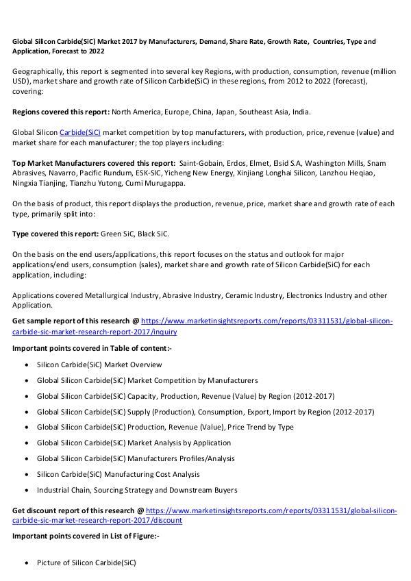Global Silicon Carbide(SiC) Market 2017 Global Silicon Carbide(SiC) Market 2017