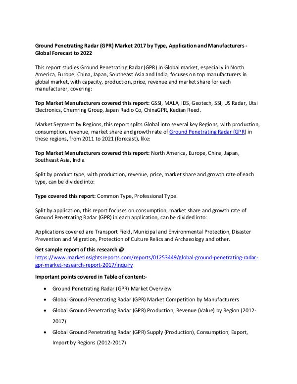 Ground Penetrating Radar (GPR) Market 2017 Ground Penetrating Radar (GPR) Market 2017
