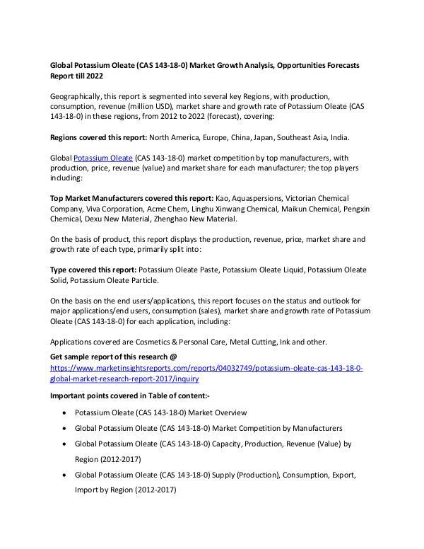 Global Potassium Oleate (CAS 143-18-0) Market 2017 Global Potassium Oleate (CAS 143-18-0) Market 2017