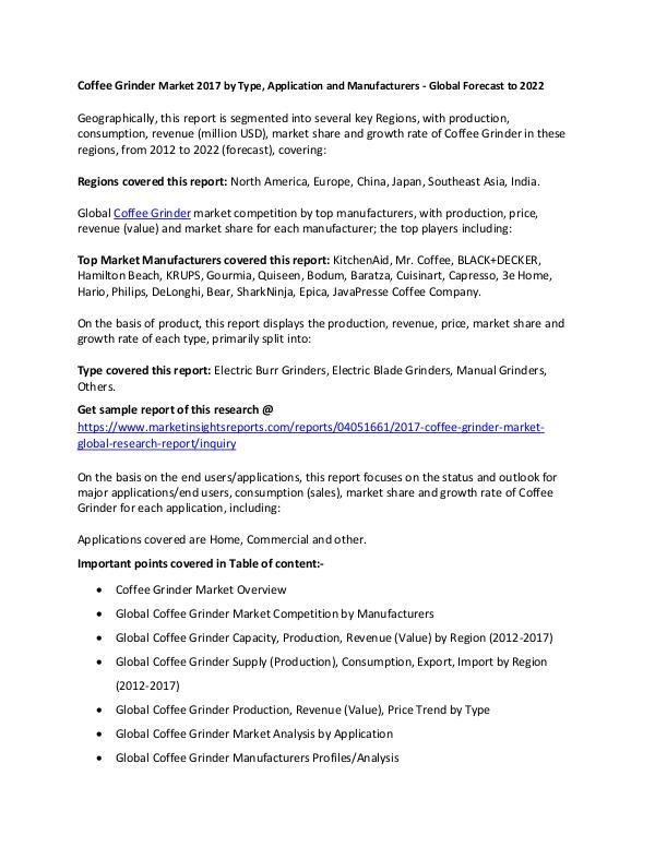 Coffee Grinder Market 2017 Coffee Grinder Market 2017 forecast to 2022