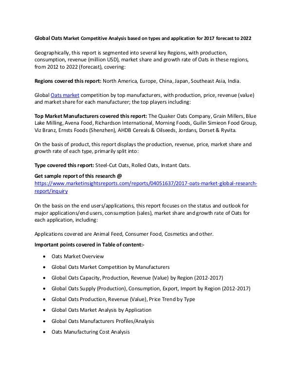 Global Oats Market 2017 Global Oats Market 2017 forecast to 2022
