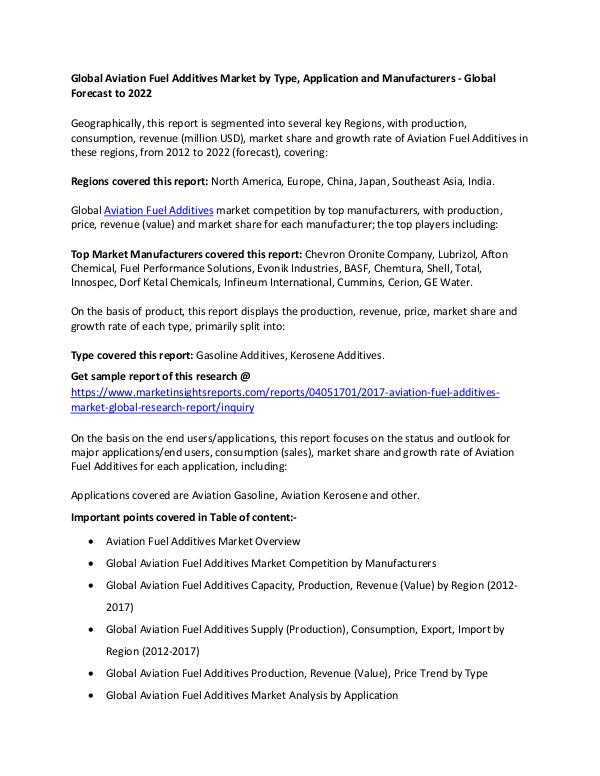Global Aviation Fuel Additives Market 2017 Aviation Fuel Additives Market 2017 forecast 2022