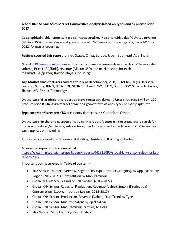 Global KNX Sensor Sales Market types and application for 2017