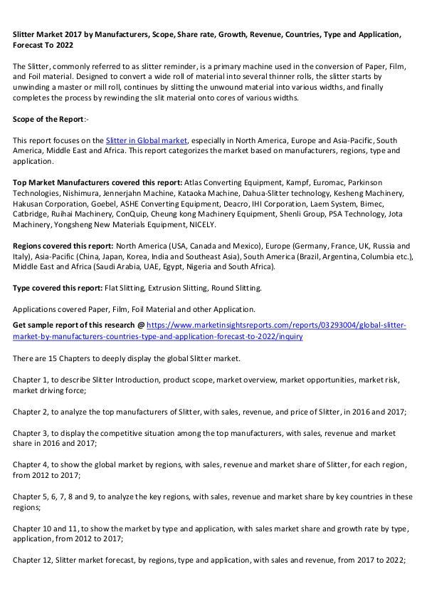 Slitter Market 2017 Slitter Market 2017 forecast to 2022
