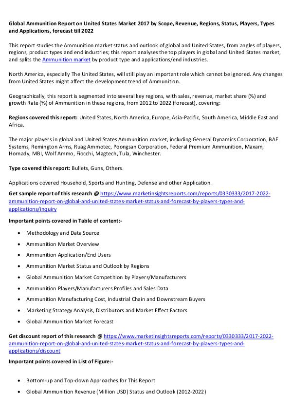 Global Ammunition Report on United States Market 2017 Global Ammunition Report on United States Market