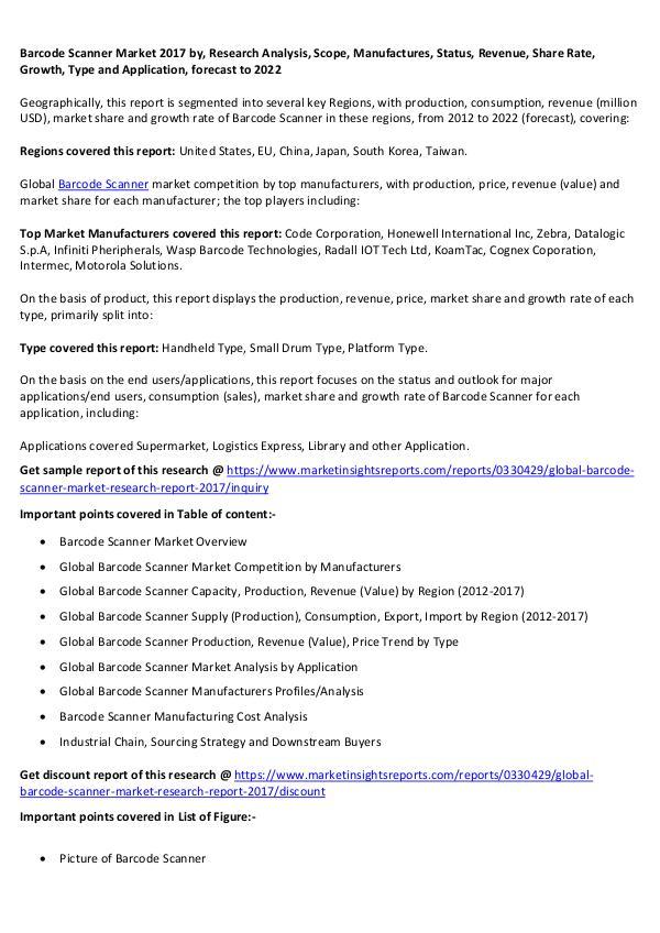Barcode Scanner Market 2017 Barcode Scanner Market 2017 forecast to 2022