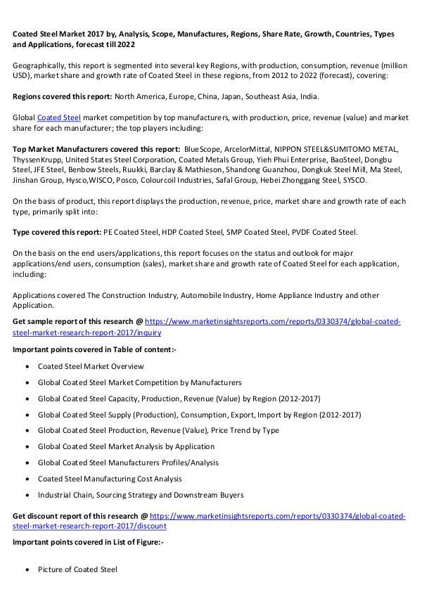 Coated Steel Market 2017 Coated Steel Market 2017 forecast to 2022
