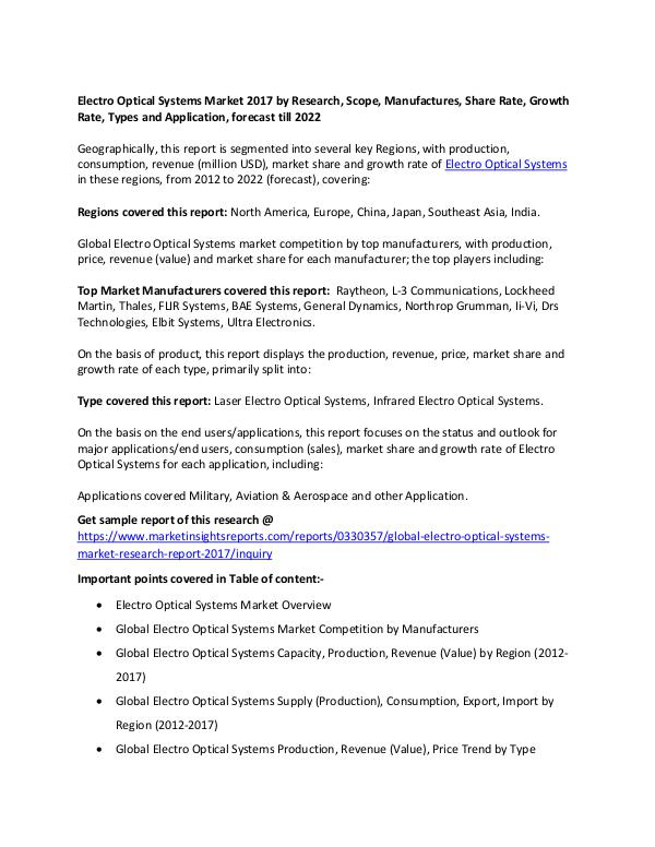 Electro Optical Systems Market 2017 Electro Optical Systems Market 2017 forecast 2022