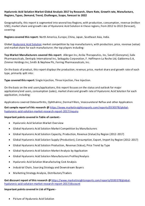 Hyaluronic Acid Solution Market 2017 Hyaluronic Acid Solution Market 2017 forecast 2022