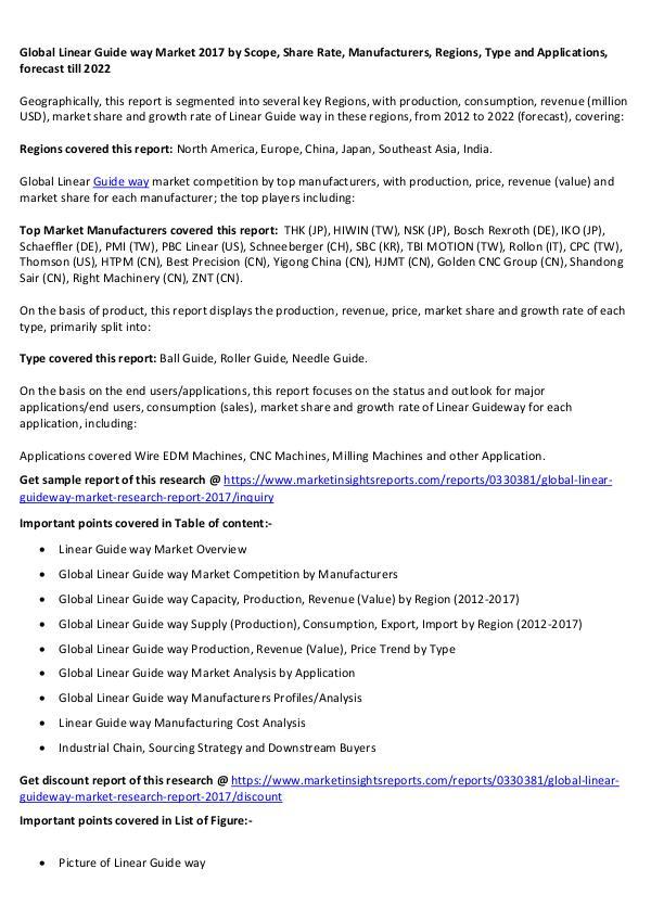 Global Linear Guide way Market 2017 Global Linear Guide way Market 2017 forecast 2022
