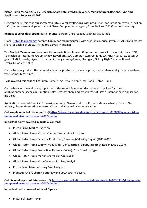 Piston Pump Market 2017 Piston Pump Market 2017 forecast to 2022