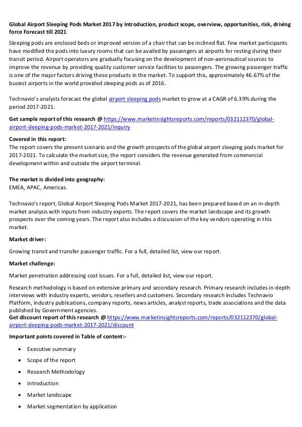 Global Airport Sleeping Pods Market 2017 Global Airport Sleeping Pods Market 2017