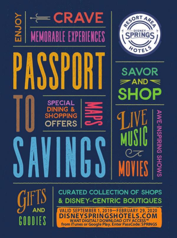 Disney Springs Passport Sept 2019 - Feb 2020