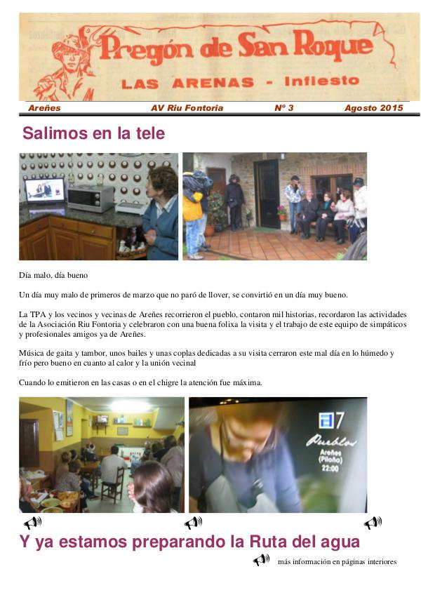 Periódico Pregón de San Roque - Areñes (Piloña Asturias) 2015 Pregón de San Roque -Areñes (Piloña Asturias)