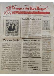 1955 Pregón de S. Roque-Areñes (Piloña Asturias)