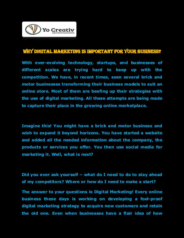 YOCreativ Pvt Ltd Digital Marketing is Important for your Business