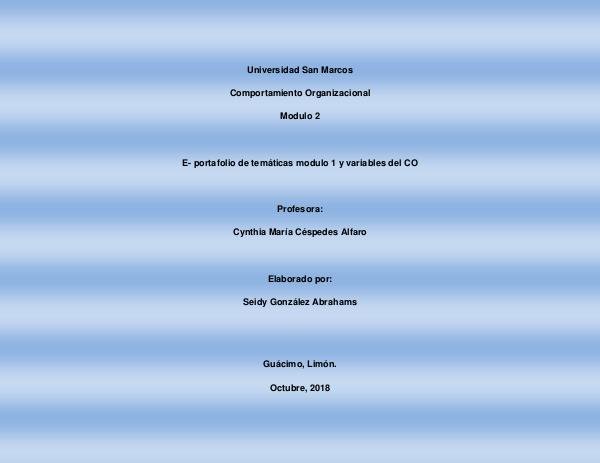E- portafolio de temáticas modulo 1 y variables del CO E- Portafolio CO 2018