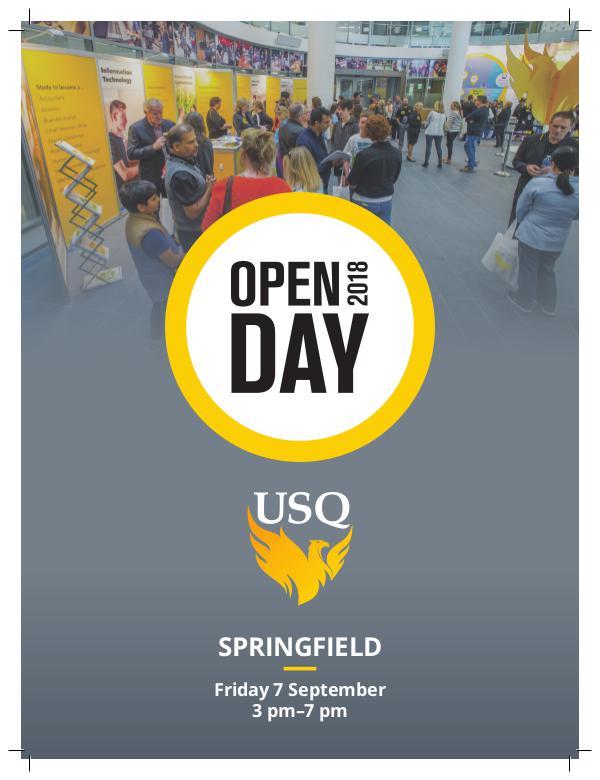 USQ-Springfield Open Day Program 2018 110113 Marketing-Springfield Open Day Program 2018