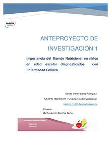 Anteproyecto de Investigación, Nutrición Aplicada UnADM