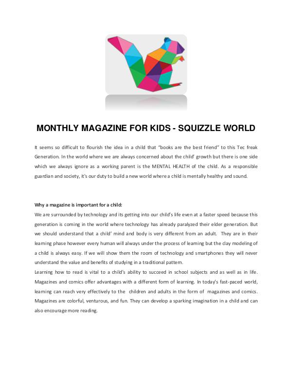 Squizzle World MONTHLY MAGAZINE FOR KIDS