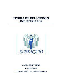 TEORIA DE LAS RELACIONES INDUSTRIALES. SINDICATOS