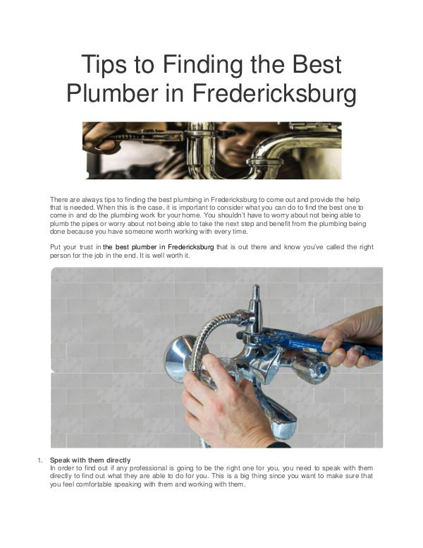 All interesting article to read Tips to Finding the Best Plumber in Fredericksburg
