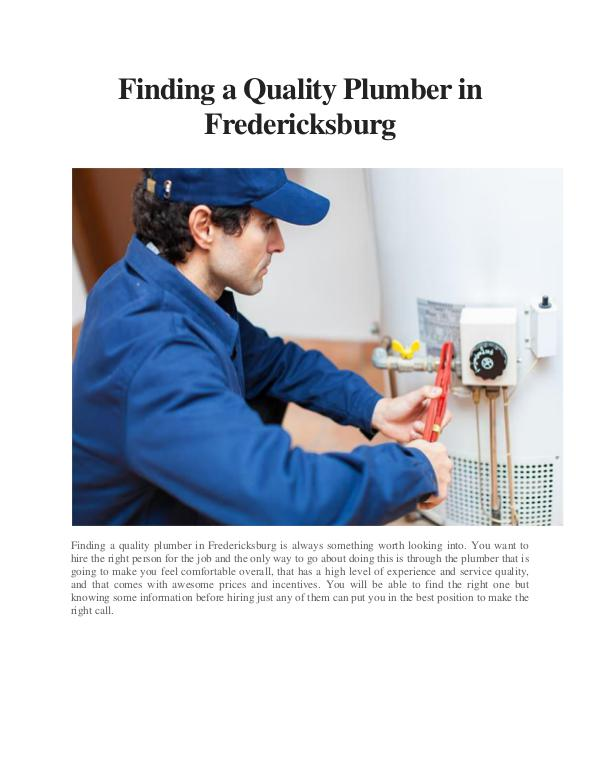 All interesting article to read Finding a Quality Plumber in Fredericksburg