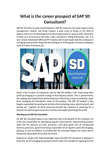 What is the career prospect of SAP SD Consultant?